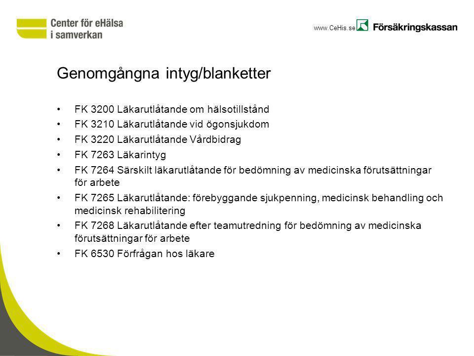 www.CeHis.se Genomgångna intyg/blanketter FK 3200 Läkarutlåtande om hälsotillstånd FK 3210 Läkarutlåtande vid ögonsjukdom FK 3220 Läkarutlåtande Vårdb