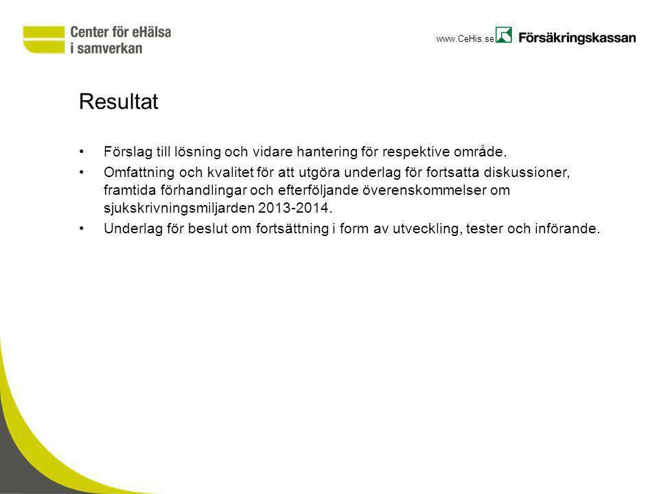 www.CeHis.se Resultat Förslag till lösning och vidare hantering för respektive område. Omfattning och kvalitet för att utgöra underlag för fortsatta d