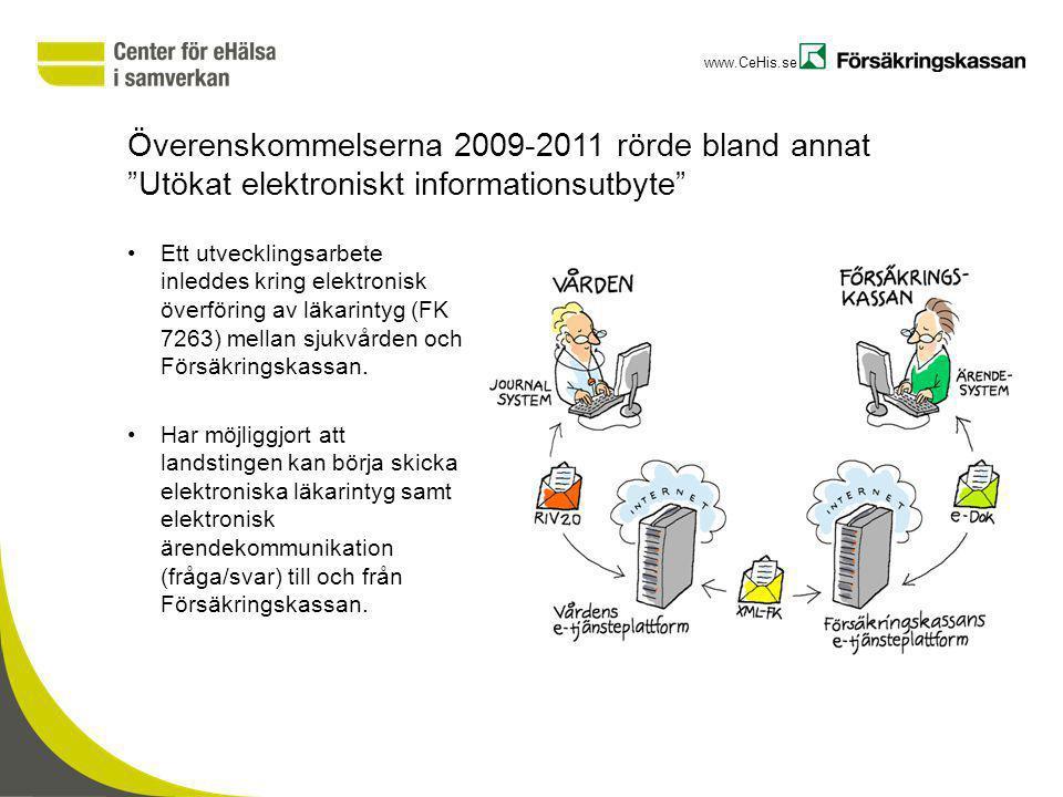 """www.CeHis.se Överenskommelserna 2009-2011 rörde bland annat """"Utökat elektroniskt informationsutbyte"""" Ett utvecklingsarbete inleddes kring elektronisk"""
