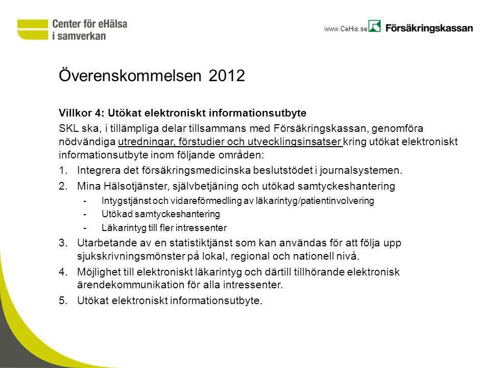 www.CeHis.se Överenskommelsen 2012 Villkor 4: Utökat elektroniskt informationsutbyte SKL ska, i tillämpliga delar tillsammans med Försäkringskassan, g