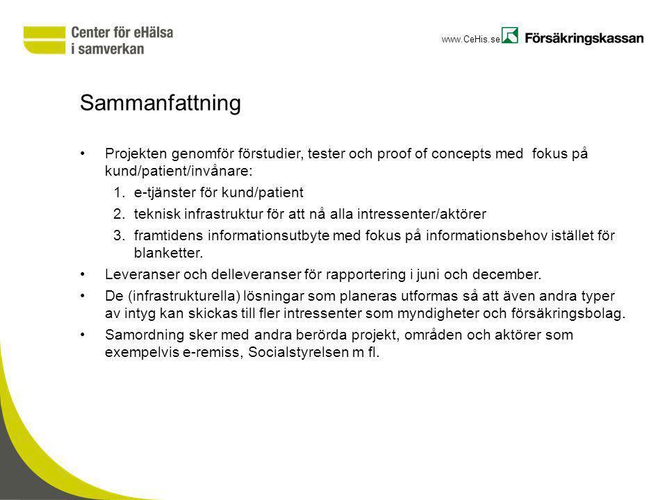 www.CeHis.se Sammanfattning Projekten genomför förstudier, tester och proof of concepts med fokus på kund/patient/invånare: 1.e-tjänster för kund/pati