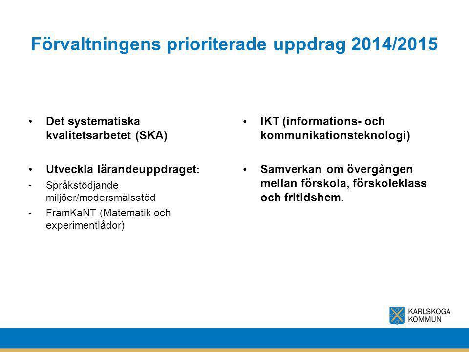 Förvaltningens prioriterade uppdrag 2014/2015 Det systematiska kvalitetsarbetet (SKA) Utveckla lärandeuppdraget : -Språkstödjande miljöer/modersmålsst