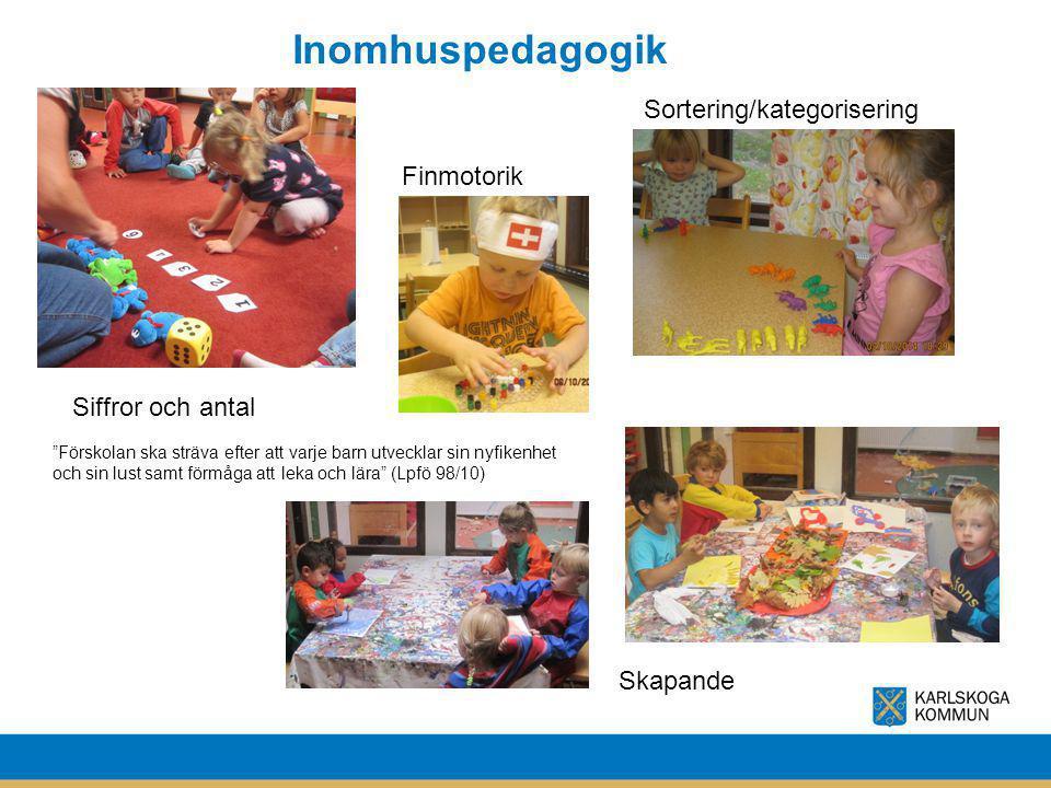 """Inomhuspedagogik """"Förskolan ska sträva efter att varje barn utvecklar sin nyfikenhet och sin lust samt förmåga att leka och lära"""" (Lpfö 98/10) Sorteri"""