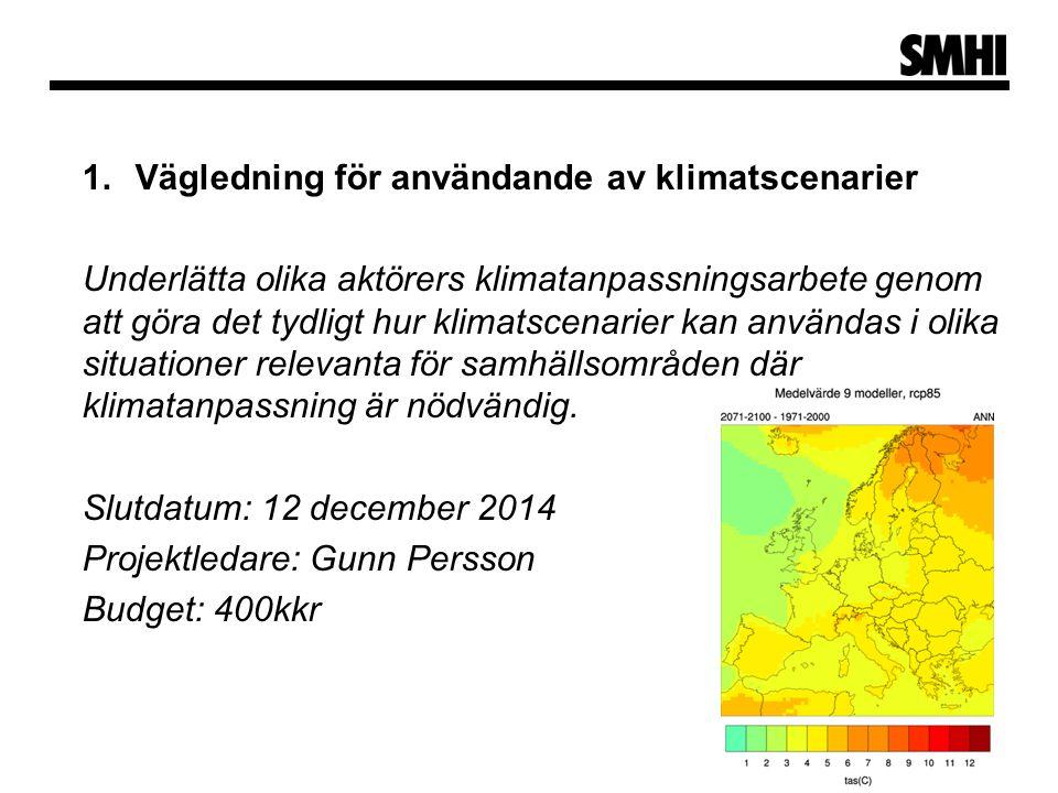 1.Vägledning för användande av klimatscenarier Underlätta olika aktörers klimatanpassningsarbete genom att göra det tydligt hur klimatscenarier kan användas i olika situationer relevanta för samhällsområden där klimatanpassning är nödvändig.