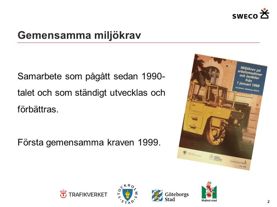 Gemensamma miljökrav Samarbete som pågått sedan 1990- talet och som ständigt utvecklas och förbättras. Första gemensamma kraven 1999. 2