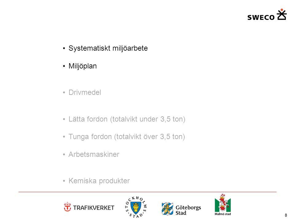8 Systematiskt miljöarbete Miljöplan Drivmedel Lätta fordon (totalvikt under 3,5 ton) Tunga fordon (totalvikt över 3,5 ton) Arbetsmaskiner Kemiska pro
