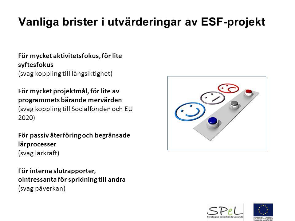 Vanliga brister i utvärderingar av ESF-projekt För mycket aktivitetsfokus, för lite syftesfokus (svag koppling till långsiktighet) För mycket projektm