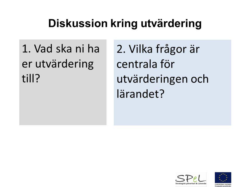 Diskussion kring utvärdering 1. Vad ska ni ha er utvärdering till? 2. Vilka frågor är centrala för utvärderingen och lärandet?