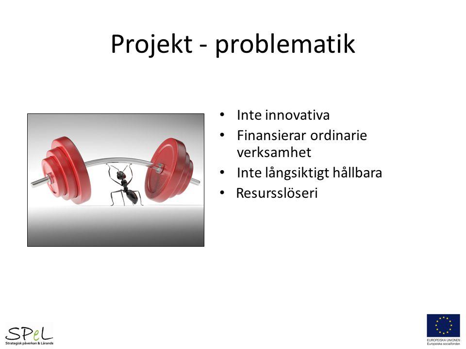 Projekt - problematik Inte innovativa Finansierar ordinarie verksamhet Inte långsiktigt hållbara Resursslöseri