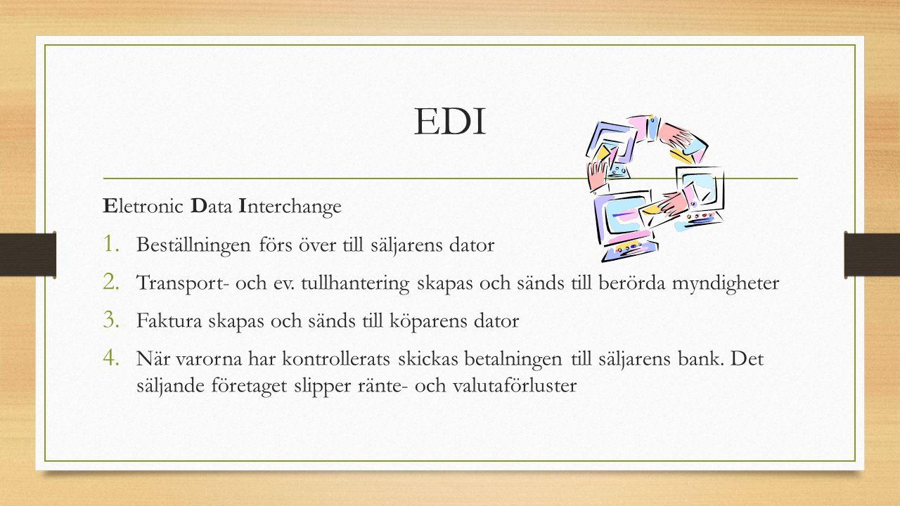 EDI Eletronic Data Interchange 1. Beställningen förs över till säljarens dator 2. Transport- och ev. tullhantering skapas och sänds till berörda myndi