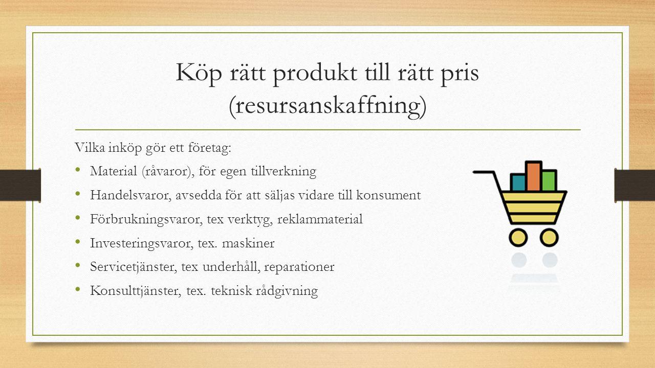 Köp rätt produkt till rätt pris (resursanskaffning) Vilka inköp gör ett företag: Material (råvaror), för egen tillverkning Handelsvaror, avsedda för a
