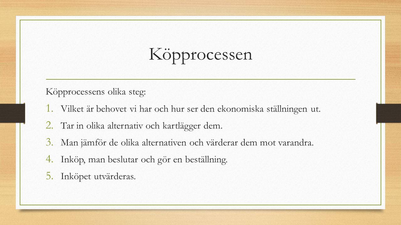 Köpprocessen Köpprocessens olika steg: 1. Vilket är behovet vi har och hur ser den ekonomiska ställningen ut. 2. Tar in olika alternativ och kartlägge