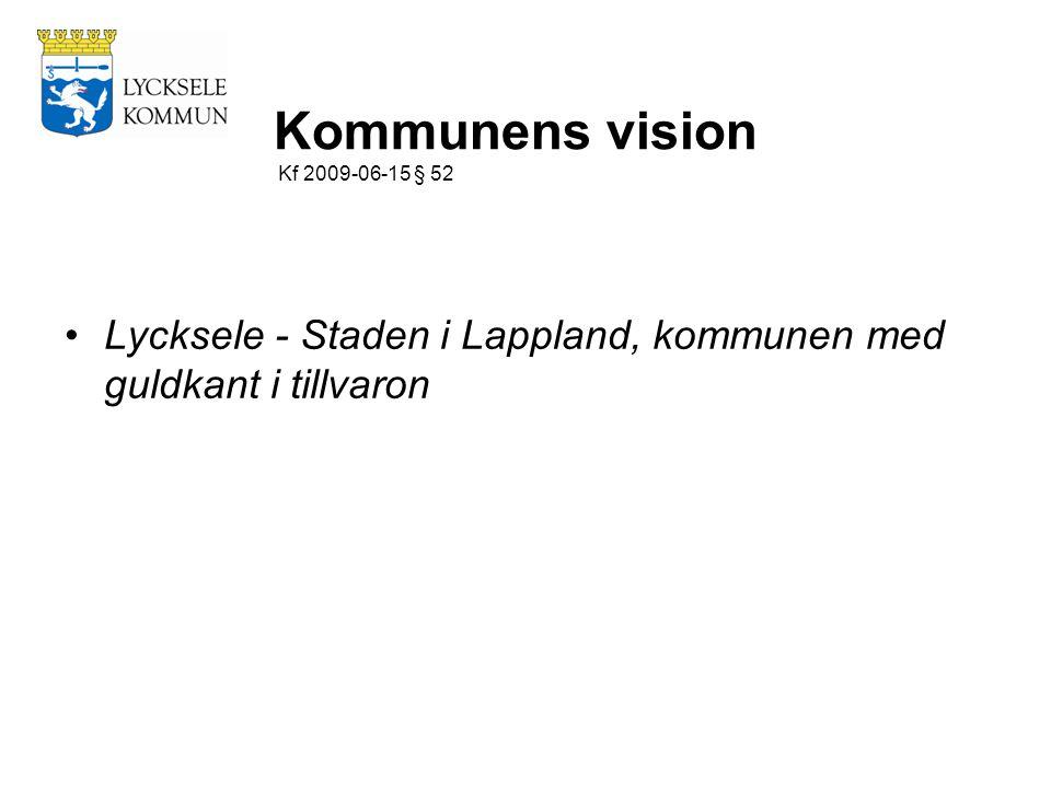 Kommunens vision Kf 2009-06-15 § 52 Lycksele - Staden i Lappland, kommunen med guldkant i tillvaron