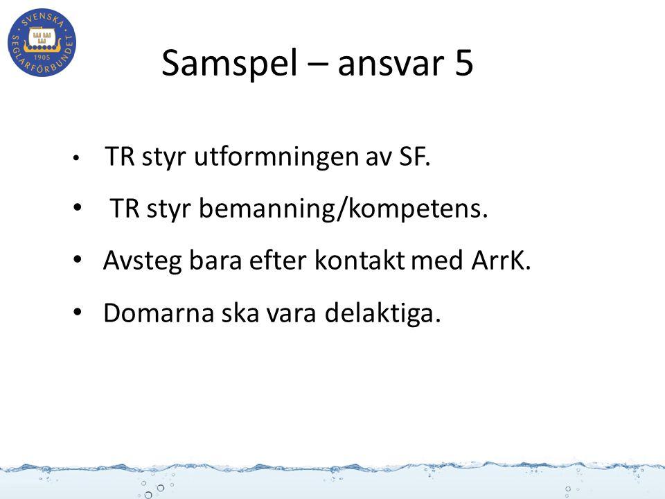 Samspel – ansvar 5 TR styr utformningen av SF. TR styr bemanning/kompetens. Avsteg bara efter kontakt med ArrK. Domarna ska vara delaktiga.