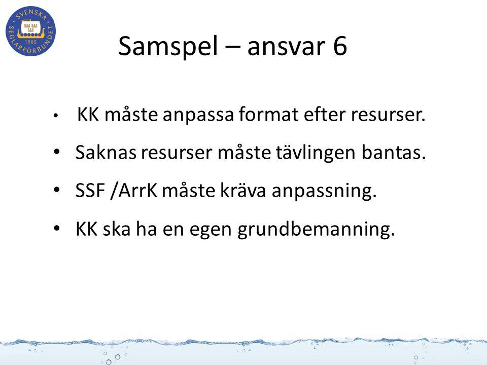 Samspel – ansvar 6 KK måste anpassa format efter resurser. Saknas resurser måste tävlingen bantas. SSF /ArrK måste kräva anpassning. KK ska ha en egen