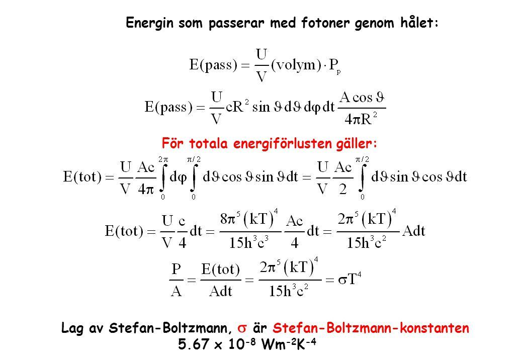 Energin som passerar med fotoner genom hålet: För totala energiförlusten gäller: Lag av Stefan-Boltzmann,  är Stefan-Boltzmann-konstanten 5.67 x 10 -8 Wm -2 K -4