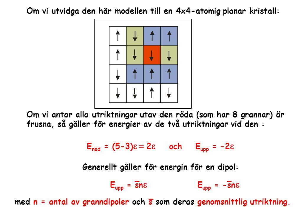 Om vi utvidga den här modellen till en 4x4-atomig planar kristall: Om vi antar alla utriktningar utav den röda (som har 8 grannar) är frusna, så gäller för energier av de två utriktningar vid den : E ned = (5-3)  2  och E upp = -2  Generellt gäller för energin för en dipol: med n = antal av granndipoler och s som deras genomsnittlig utriktning.