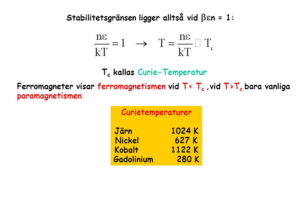 Stabilitetsgränsen ligger alltså vid  n = 1: T c kallas Curie-Temperatur Ferromagneter visar ferromagnetismen vid T T c bara vanliga paramagnetismen.
