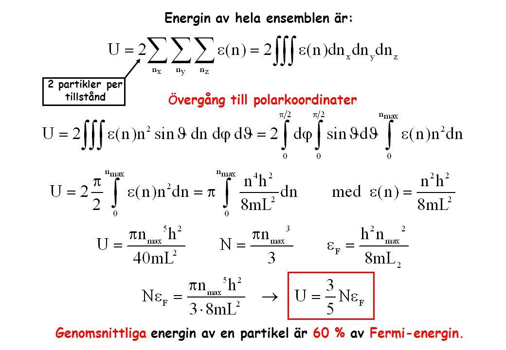 Energin av hela ensemblen är: 2 partikler per tillstånd Ö vergång till polarkoordinater Genomsnittliga energin av en partikel är 60 % av Fermi-energin.