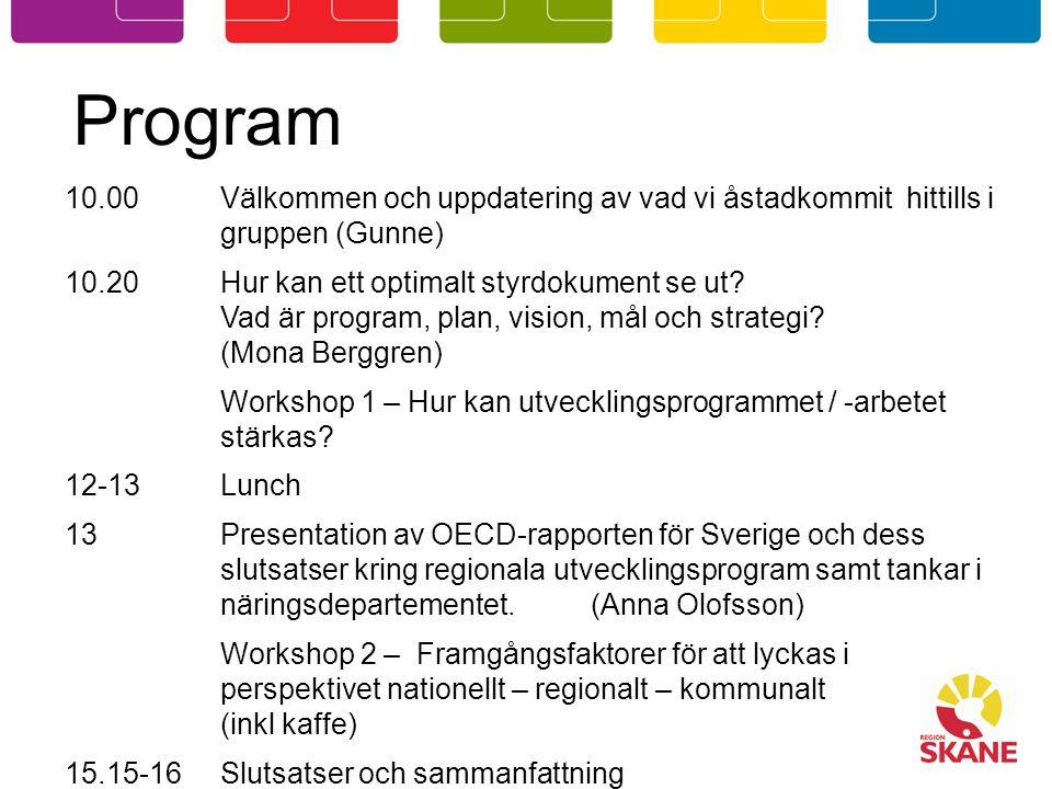 Program 10.00Välkommen och uppdatering av vad vi åstadkommit hittills i gruppen (Gunne) 10.20Hur kan ett optimalt styrdokument se ut.