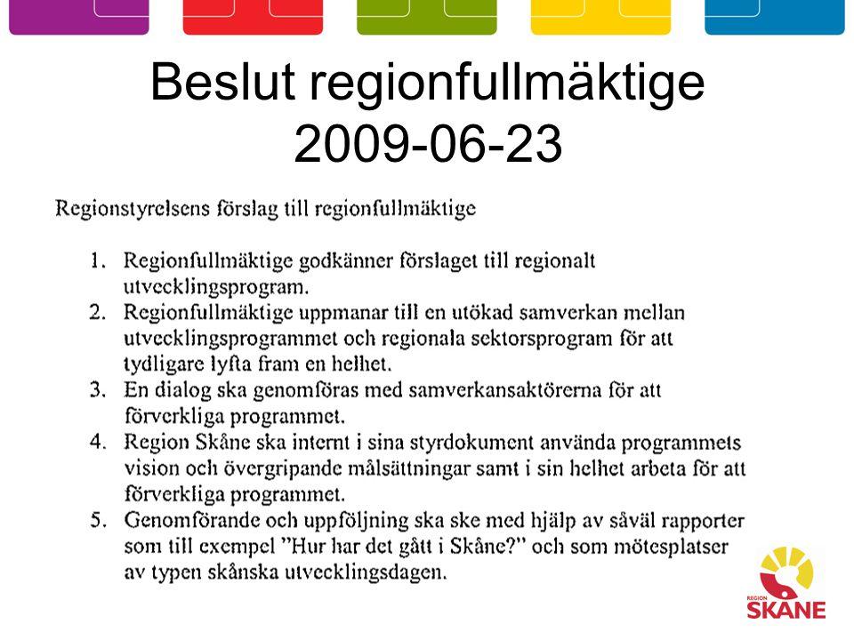 Beslut regionfullmäktige 2009-06-23