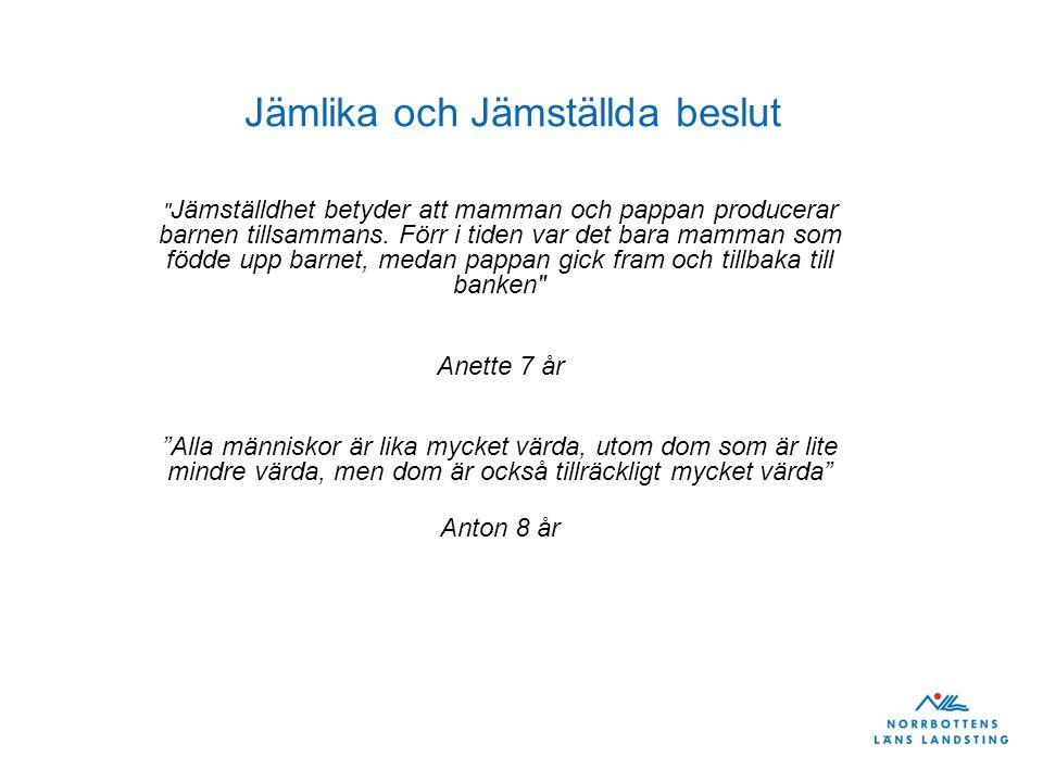 Jämlika och Jämställda beslut Jämställdhet betyder att mamman och pappan producerar barnen tillsammans.