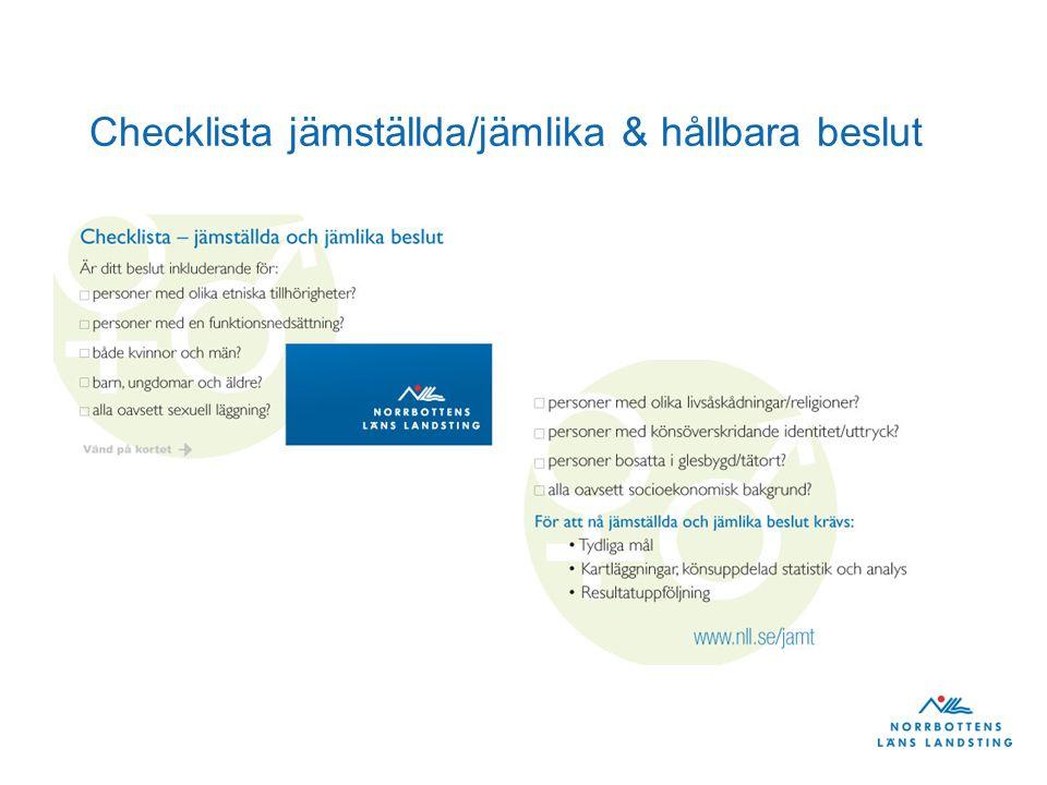 Checklista jämställda/jämlika & hållbara beslut