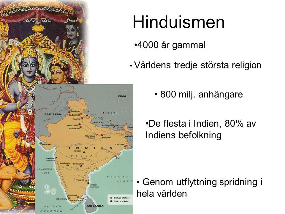 Hinduismen 4000 år gammal Världens tredje största religion 800 milj.