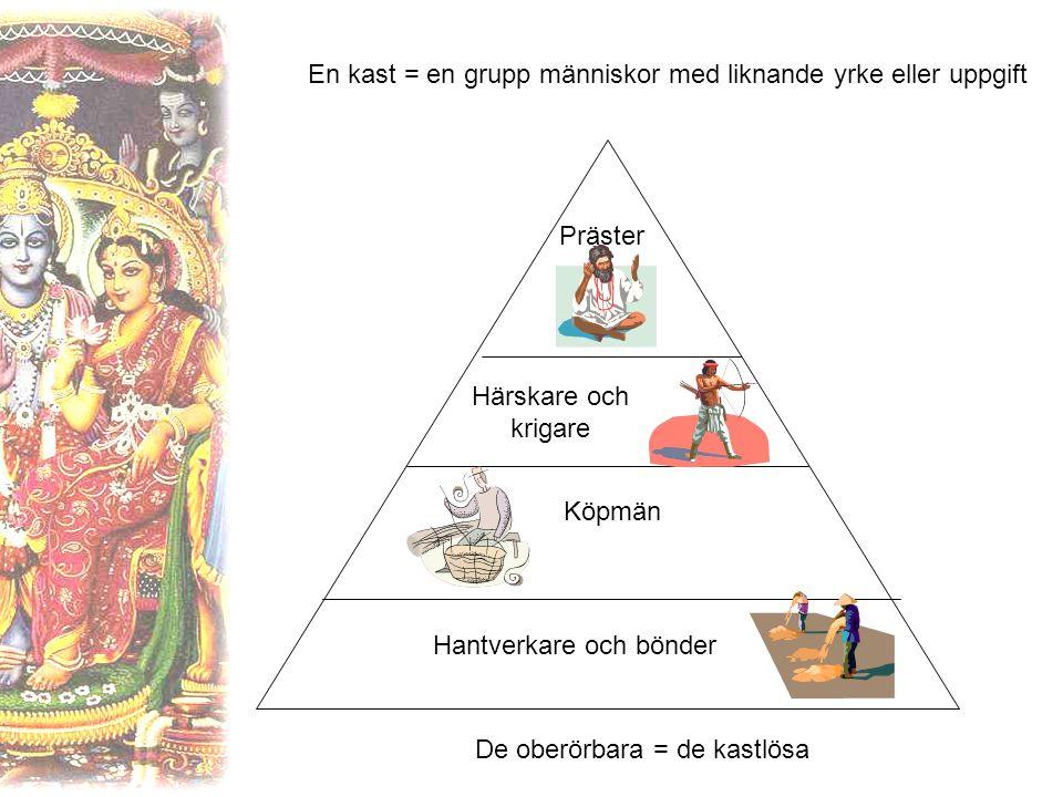 En kast = en grupp människor med liknande yrke eller uppgift Präster Härskare och krigare Köpmän Hantverkare och bönder De oberörbara = de kastlösa