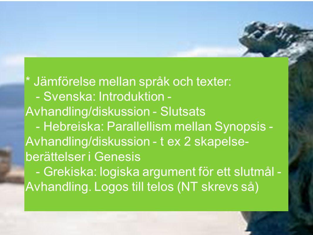 * Jämförelse mellan språk och texter: - Svenska: Introduktion - Avhandling/diskussion - Slutsats - Hebreiska: Parallellism mellan Synopsis - Avhandlin