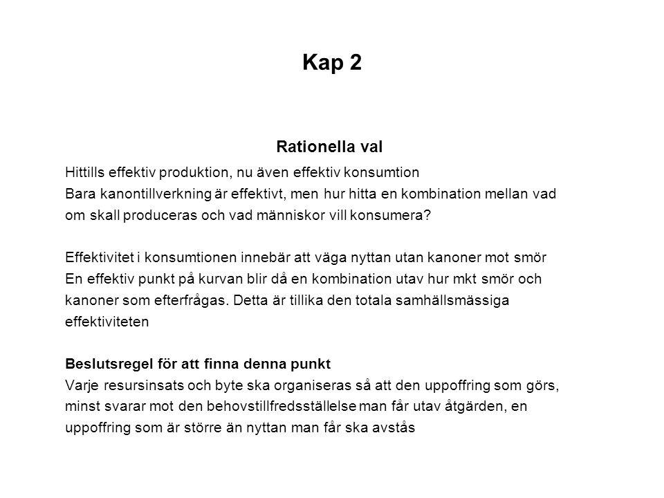 Kap 2 Rationella val Hittills effektiv produktion, nu även effektiv konsumtion Bara kanontillverkning är effektivt, men hur hitta en kombination mella