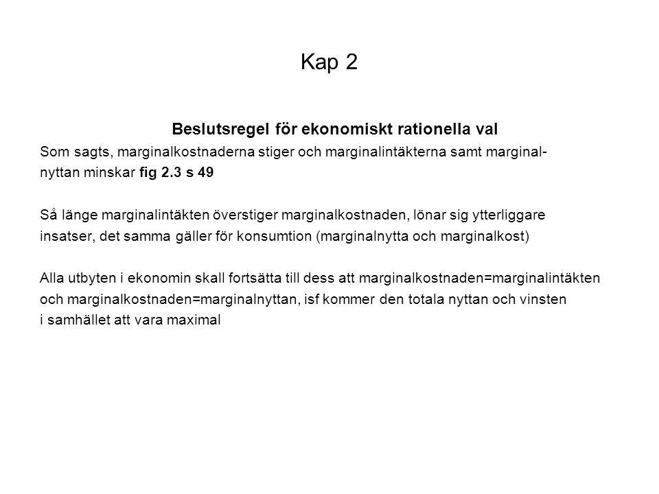 Kap 2 Beslutsregel för ekonomiskt rationella val Som sagts, marginalkostnaderna stiger och marginalintäkterna samt marginal- nyttan minskar fig 2.3 s