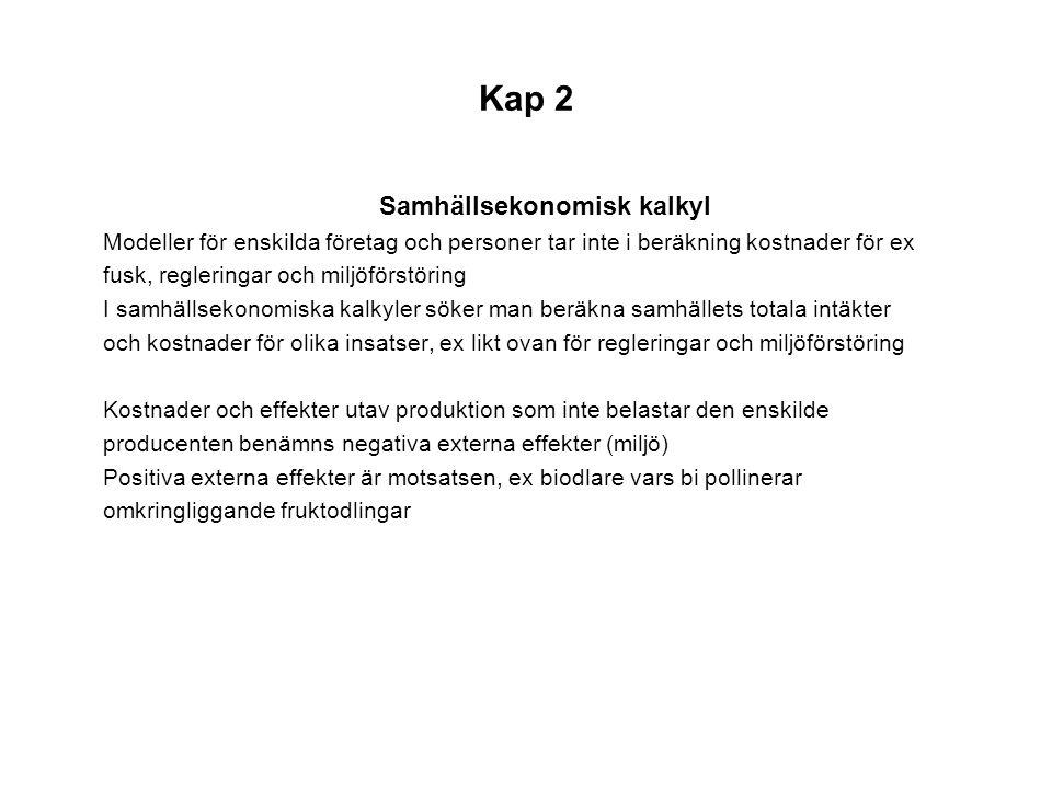 Kap 2 Samhällsekonomisk kalkyl Modeller för enskilda företag och personer tar inte i beräkning kostnader för ex fusk, regleringar och miljöförstöring