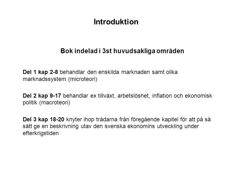 Introduktion Bok indelad i 3st huvudsakliga områden Del 1 kap 2-8 behandlar den enskilda marknaden samt olika marknadssystem (microteori) Del 2 kap 9-