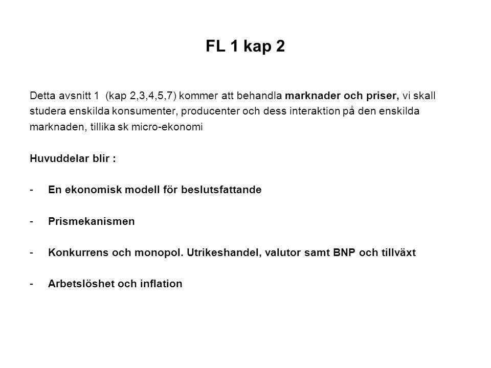 FL 1 kap2 En ekonomisk modell för beslutsfattande Fokus: - Grundproblem: att välja hur knappa resurser ska användas - Rationella val för konsumenter och producenter - Kostnaden för ett val, alternativkostnaden - Varför marginalanalys?