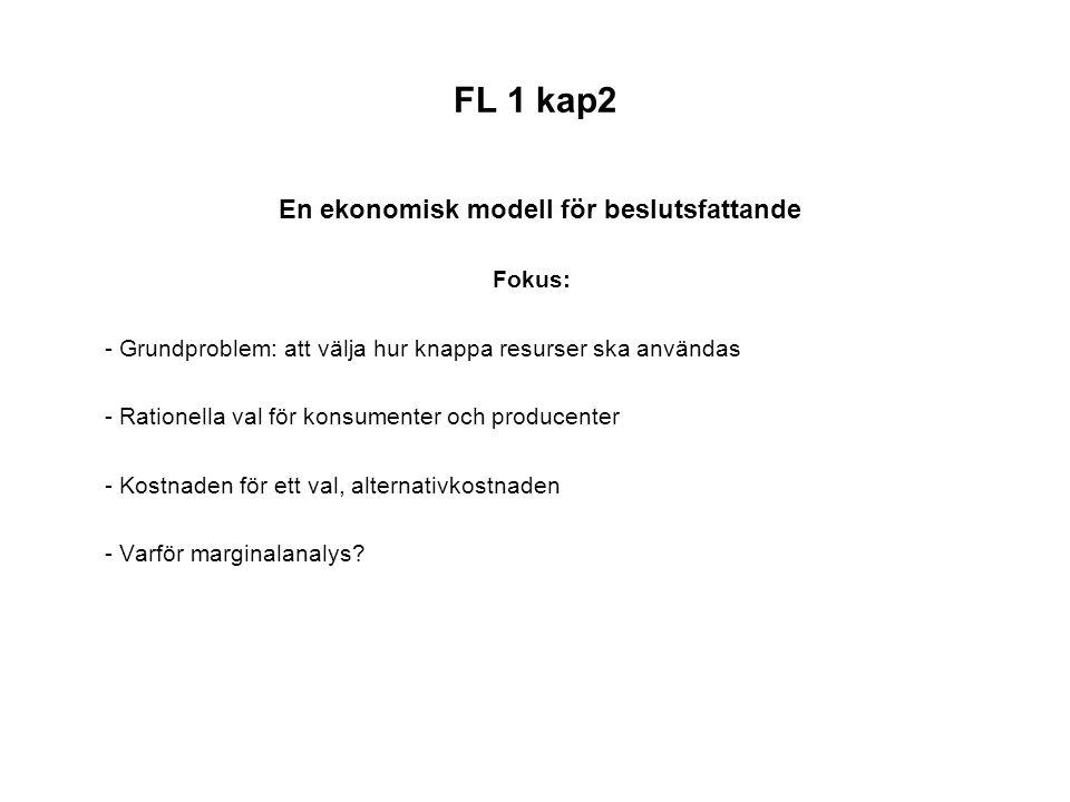 FL 1 kap2 En ekonomisk modell för beslutsfattande Fokus: - Grundproblem: att välja hur knappa resurser ska användas - Rationella val för konsumenter o