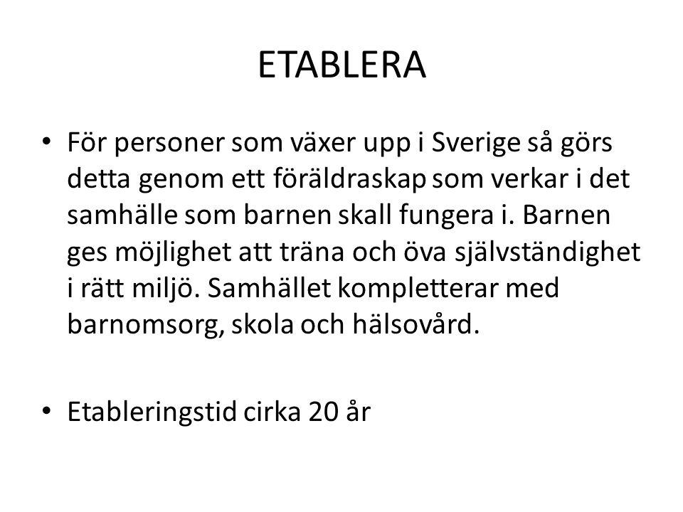ETABLERA För personer som växer upp i Sverige så görs detta genom ett föräldraskap som verkar i det samhälle som barnen skall fungera i. Barnen ges mö