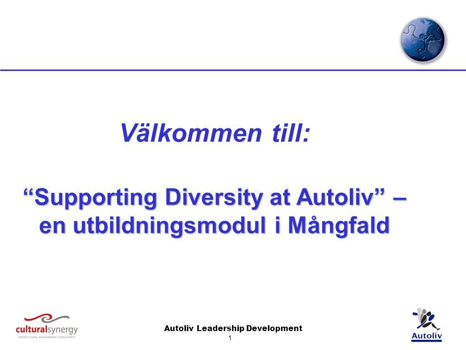 Autoliv Leadership Development 1 Välkommen till: Supporting Diversity at Autoliv – en utbildningsmodul i Mångfald