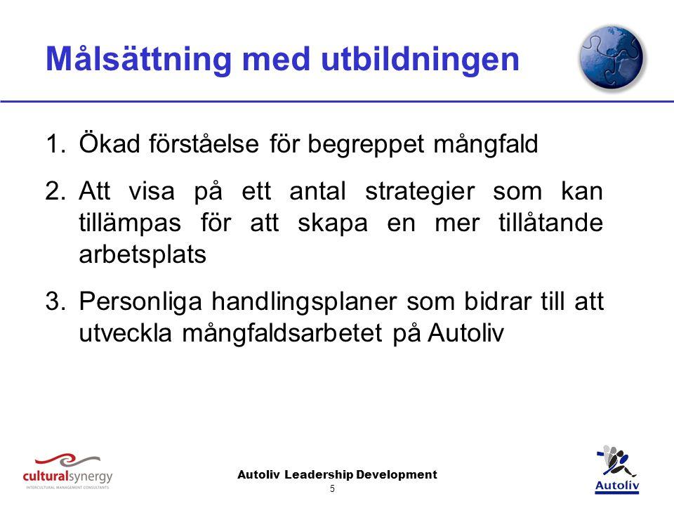 Autoliv Leadership Development 5 Målsättning med utbildningen 1.Ökad förståelse för begreppet mångfald 2.Att visa på ett antal strategier som kan tillämpas för att skapa en mer tillåtande arbetsplats 3.Personliga handlingsplaner som bidrar till att utveckla mångfaldsarbetet på Autoliv