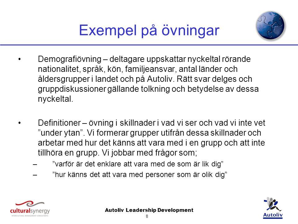Autoliv Leadership Development 8 Exempel på övningar Demografiövning – deltagare uppskattar nyckeltal rörande nationalitet, språk, kön, familjeansvar, antal länder och åldersgrupper i landet och på Autoliv.