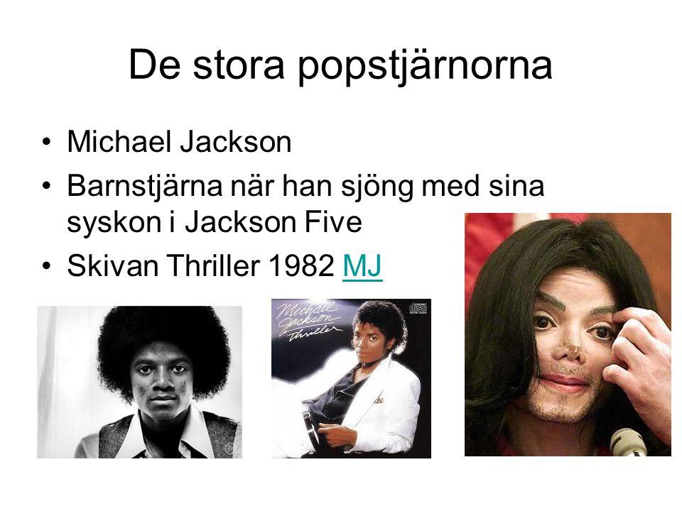 De stora popstjärnorna Michael Jackson Barnstjärna när han sjöng med sina syskon i Jackson Five Skivan Thriller 1982 MJMJ