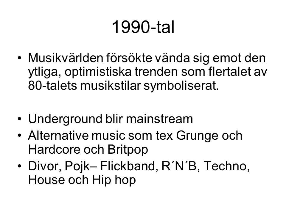 1990-tal Musikvärlden försökte vända sig emot den ytliga, optimistiska trenden som flertalet av 80-talets musikstilar symboliserat. Underground blir m