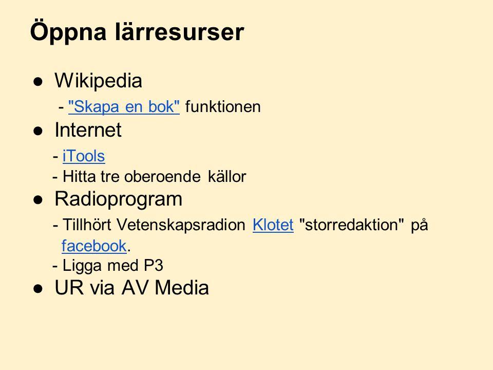 Öppna lärresurser ●Wikipedia -