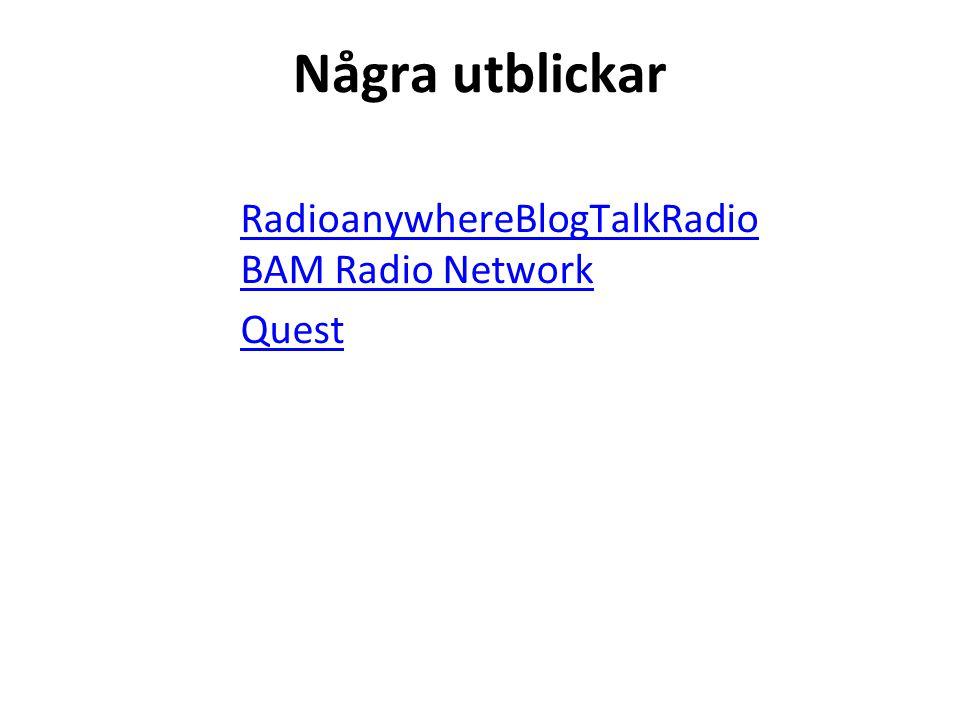 Några utblickar RadioanywhereBlogTalkRadio BAM Radio Network Quest