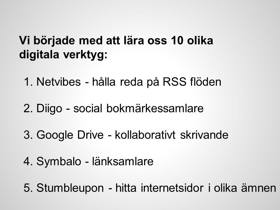 Vi började med att lära oss 10 olika digitala verktyg: 1. Netvibes - hålla reda på RSS flöden 2. Diigo - social bokmärkessamlare 3. Google Drive - kol
