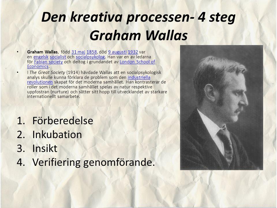 Den kreativa processen- 4 steg Graham Wallas Graham Wallas, född 31 maj 1858, död 9 augusti 1932 var en engelsk socialist och socialpsykolog. Han var