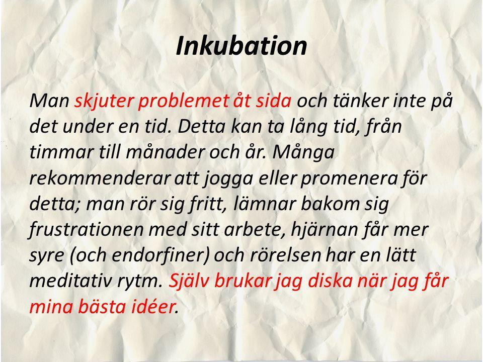Inkubation Man skjuter problemet åt sida och tänker inte på det under en tid. Detta kan ta lång tid, från timmar till månader och år. Många rekommende