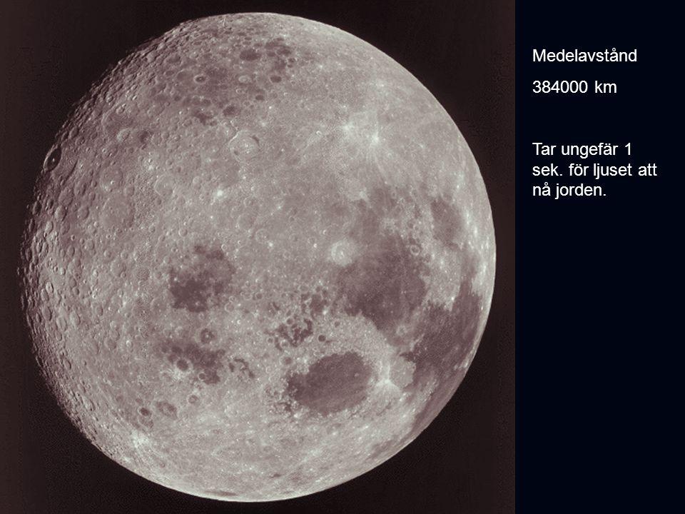Medelavstånd 384000 km Tar ungefär 1 sek. för ljuset att nå jorden.