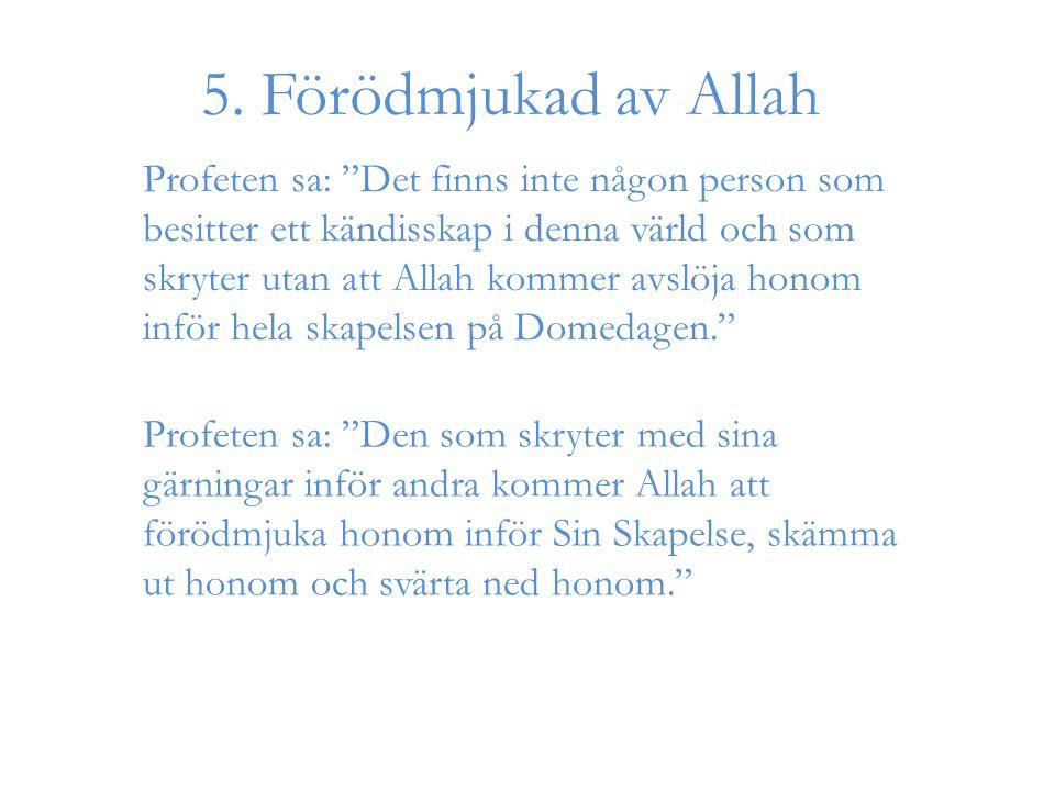 """5. Förödmjukad av Allah Profeten sa: """"Det finns inte någon person som besitter ett kändisskap i denna värld och som skryter utan att Allah kommer avsl"""