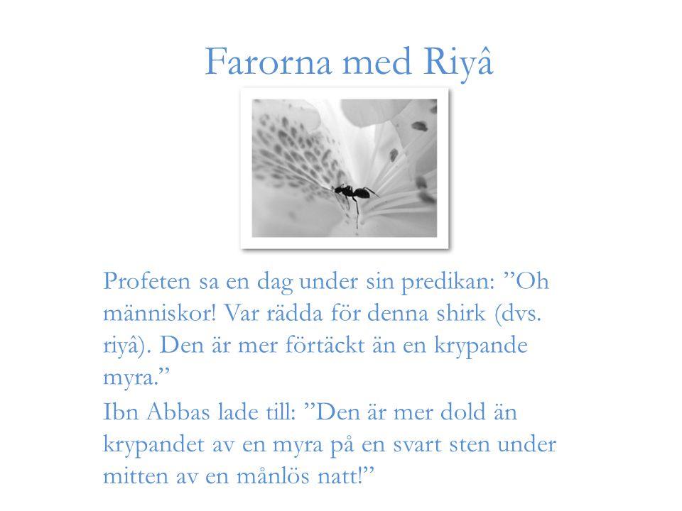 """Farorna med Riyâ Profeten sa en dag under sin predikan: """"Oh människor! Var rädda för denna shirk (dvs. riyâ). Den är mer förtäckt än en krypande myra."""
